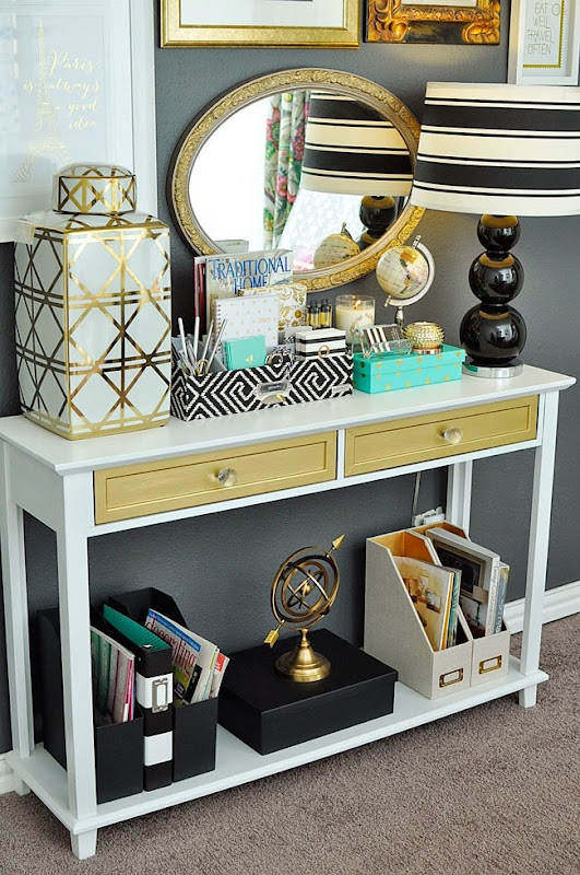 A dated cherry console table gets made over into a glam white and gold office table. Check out the details at monicawantsit.com