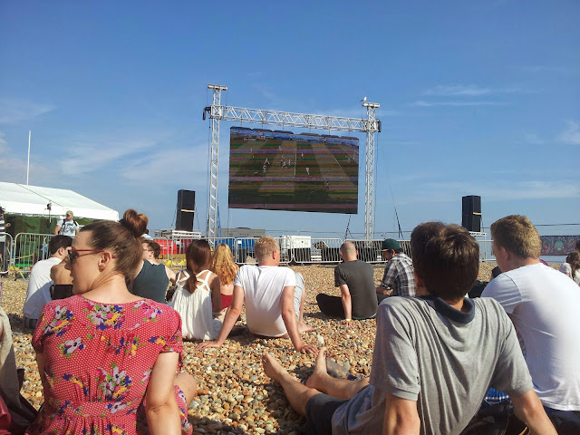 Watching the world cup England Costa Rica game on Brighton beach