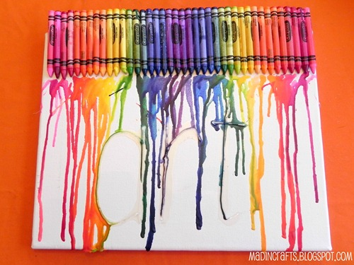 melted crayon art display