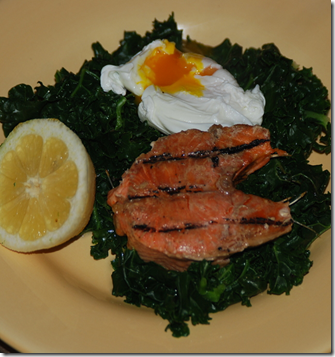 Home grown kale, home-smoked trout and an egg.