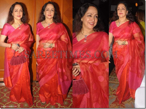 Hema_Malini_Orange_Shimmer_Saree