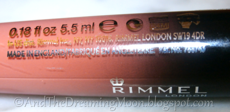 Rimmel Show Off Lip Lacquer Info on Tube
