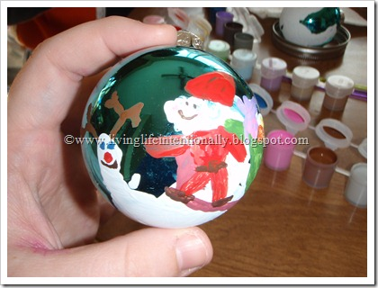 Santa Hand Art Ball Ornament