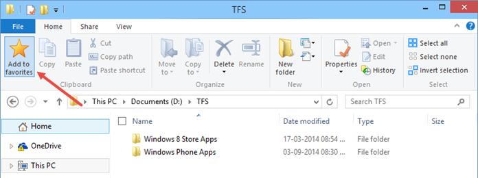 Favorited folder in Windows 10 (www.kunal-chowdhury.com)