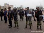 – Les éléments de la Pnc le 5/9/2011 sur le boulevard du 30 juin à Kinshasa, lors du dépôt de la candidature d'Etienne Tshisekedi pour la présidentielle 2011, au bureau de réception, traitement des candidatures et accréditation des témoins et observateurs de la Ceni à Kinshasa. Radio Okapi/ Ph. John Bompengo