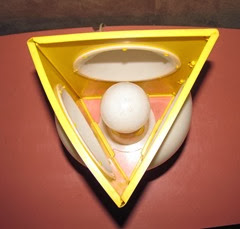 Yellow triangle lamp from top