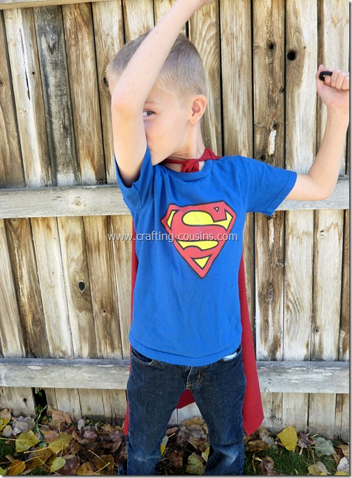 Super Hero Cape made from a tee shirt.  Tutorial by Crafty Cousins (5)