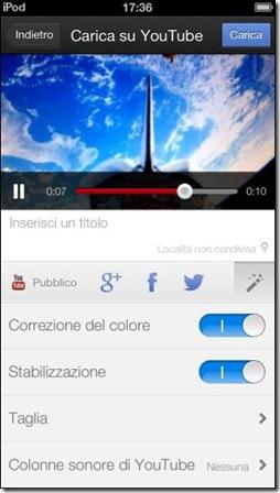 YouTube Capture per iPhone Ritocco video e Pubblicazione