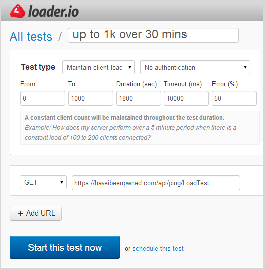 loader.io settings to scale to 1000 clients over 30 minutes