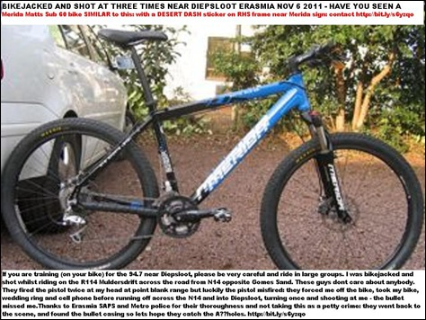 Merida Matts Sub 60 bike  SIMILAR TO ONE stolen near DIEPSLOOT Nov 6 2011