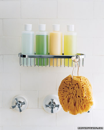 Uniform plastic bottles not only look better than the usual shampoo and soap containers, but they also fit more neatly in storage devices, such as the hanging wire basket.