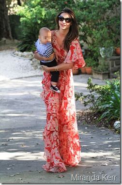 Miranda-Kerr-in-red-floral-maxi-dress-with-Flynn-August-2011