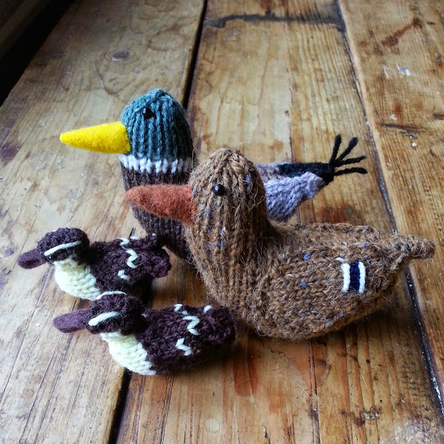knitted mallard ducks