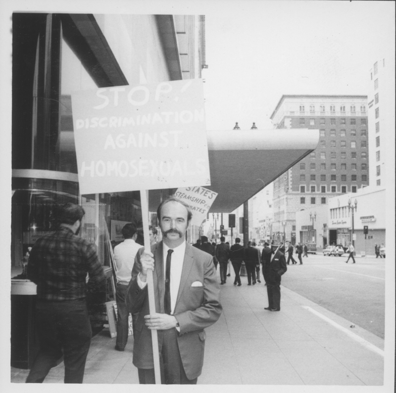 Jim Kepner with a sign at the State Steamship Lines protest. Circa May 1969.
