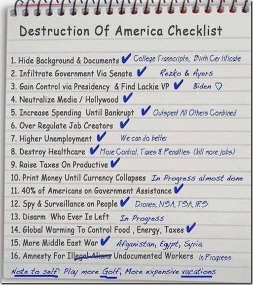 Destruction of America Checklist