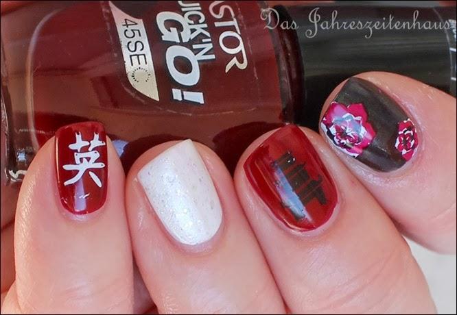 Nail Art Geisha Kirschblüte Japan Asien Design 5