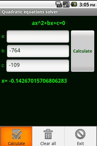 Quadratic Formula Calculator and Solver will calculate solutions (even imaginary) to any equation. J