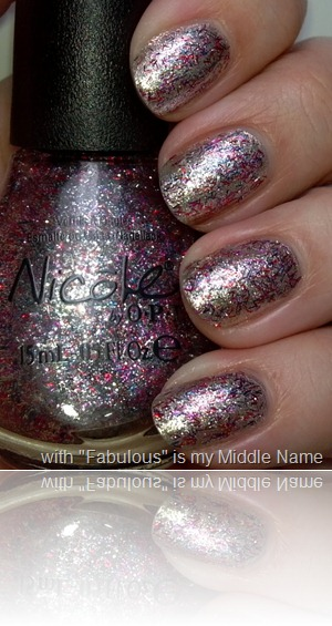 Nicole by OPI Fabulous is my Middle Name over The Gold Shoulder 2