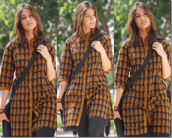 Illeana in designer kameez with printed work and collar neck pattern