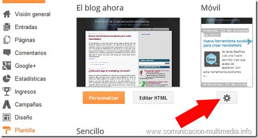 Para activar o desactivar la versión móvil del blog nos dirigiremos al panel de control.