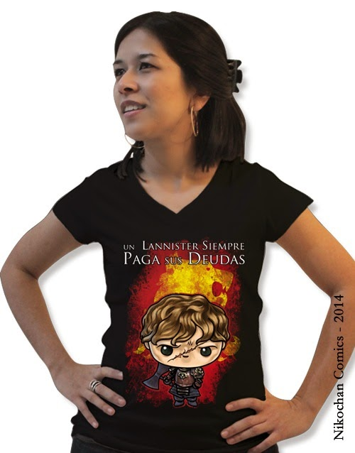 Camiseta de chica inspirada en Juego de Tronos (Un Lannister siempre paga sus Deudas) con Tyrion Lannister versión kawaii