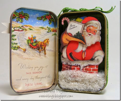 LeAnne Pugliese WeeInklings Inside Vintage Christmas Altoid Tin Altered Art Crafty Secrets 2014