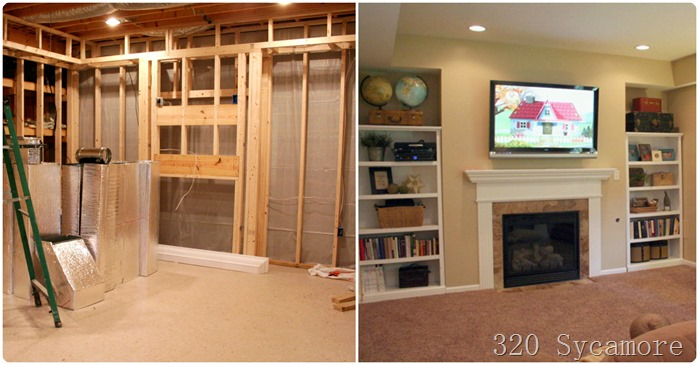 family room before after