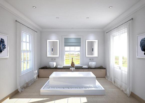 Baños Con Jacuzzi De Lujo:Un tipo de baño de lujo , que es la combinación de la elegancia y