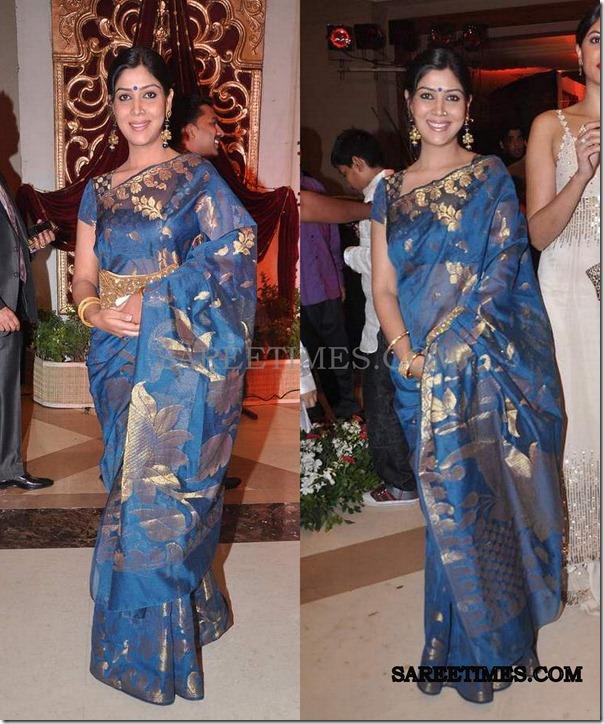 sakshi_tanwar_blue_saree