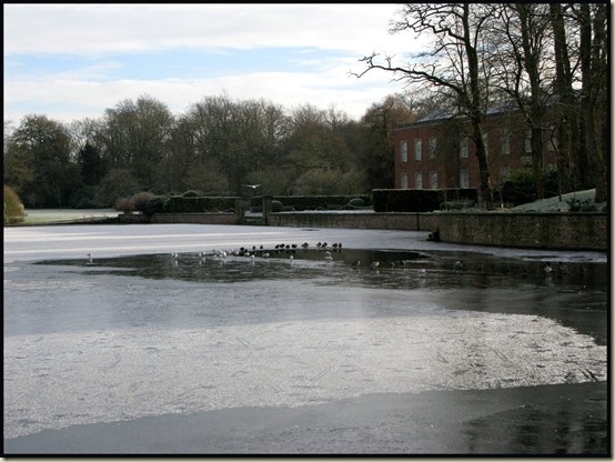 A partly frozen lake