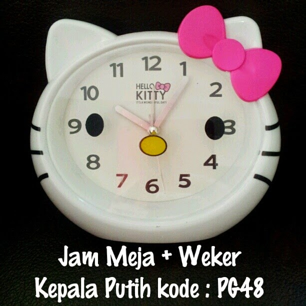 Jam Meja Weker Kepala Hello Kitty Murah Grosir Ecer Putih