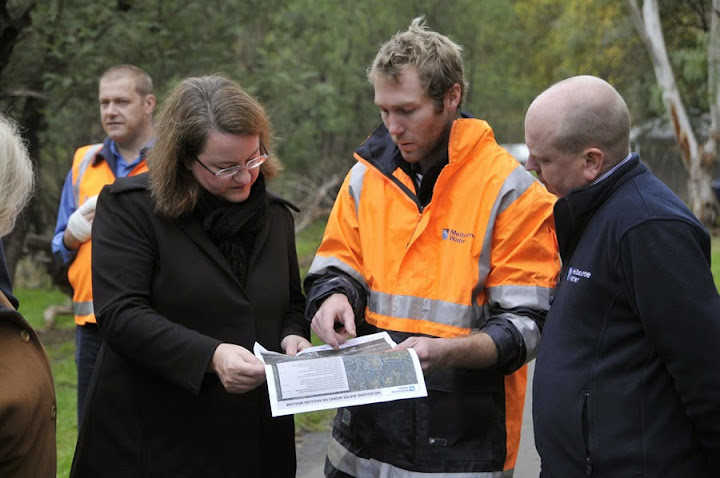 With Melbourne Water team at Mullum Mullum creek