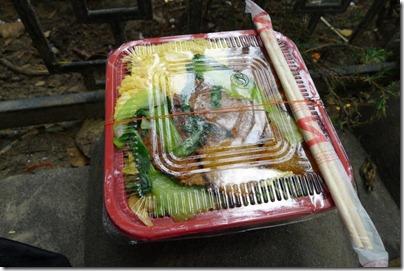 lunch outside Panjiayuan flea market