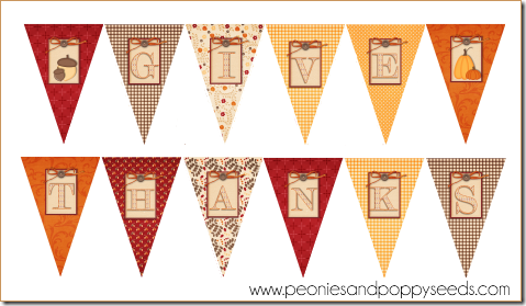 image regarding Happy Thanksgiving Banner Printable called Peonies and Poppyseeds: Cost-free Printable: Offer you Due Celebration Pack