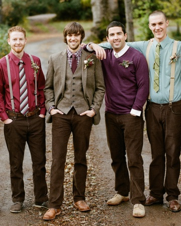 Groom Nick's best guys wore the same chocolate-brown Old Navy pants, with different-colored shirts, vests, sweaters, and suspenders.