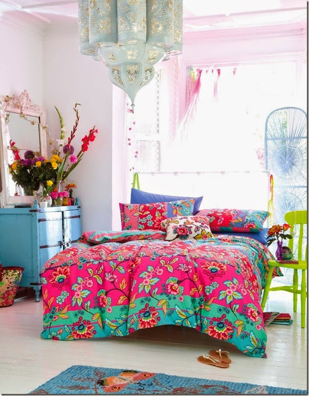 A colorful bohemian bedroom