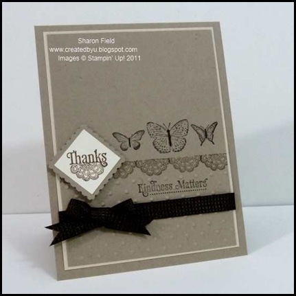 CAS, Clean and Simple, Kindness Matters, Early Espresso, Crumb Cake, Post It Notes, Quilted Ribbon, postage stamp, punch, layers, holiday mini, catalog, order online, stamping, classic ink,clean and easy, 5_minute, card
