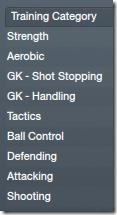 Football Manager 2012 Training Categories