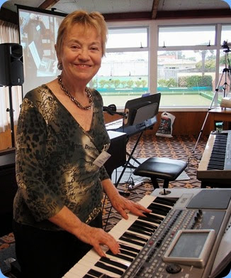 The Club's Events Manager, Diane Lyons, played the arrival music on her new Korg Pa900. Photo courtesy of Dennis Lyons.