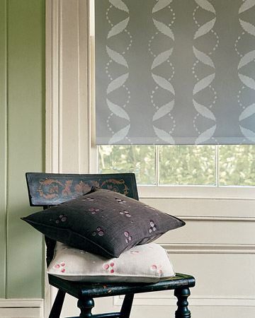 This charming white-on-gray pattern shows up best on a vinyl blackout shade.