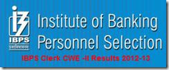 IBPS Clerk CWE-II Results 2013