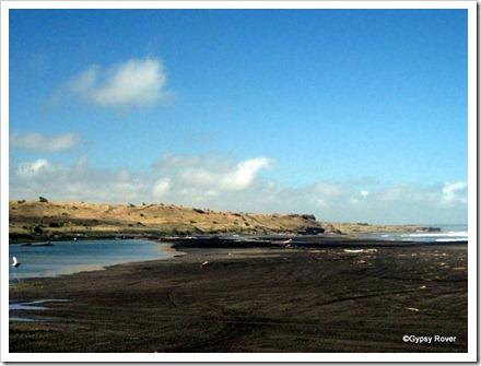 Waiinu beach with black sand.