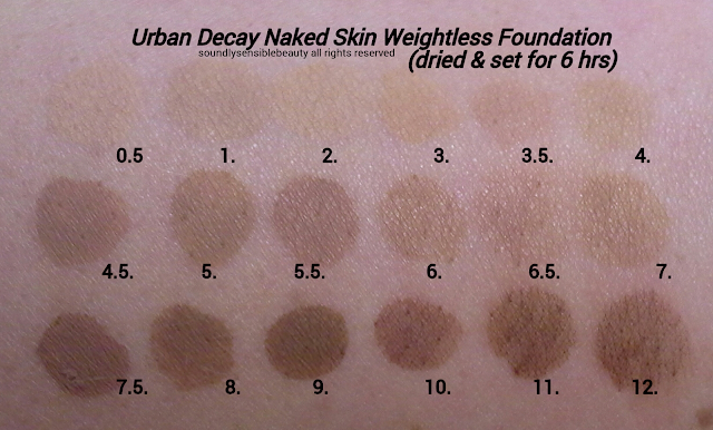 Urban Decay Naked Skin Ultra Definition Weightless Foundation; Review & Swatches of Shades: .5, 1, 2, 3, 3.5, 4, 4.5, 5, 5.5, 6, 6.5, 7, 7.5, 8, 9, 10, 11, 12