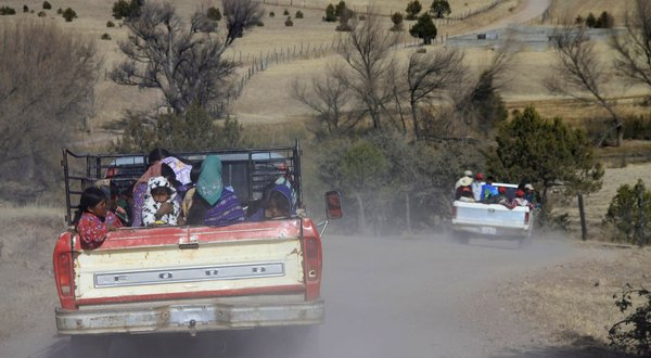 Indigenous Tarahumara drove to another community to receive humanitarian aid in the midst of a drought. The drought that a government official called the most severe Mexico had ever faced has left two million people without access to water and, coupled with a cold snap, has devastated cropland in nearly half of the country.  Alejandro Bringas/European Pressphoto Agency