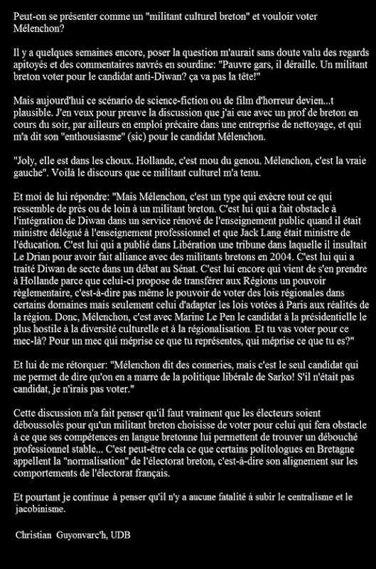 Tribuna de Christian Guyonvarc'h contra lo vòt FdG