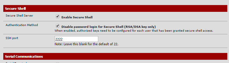 "Machine generated alternative text: Shell been gran D Enable S s. Authen shell Method that has ted Di""ble login shell (RSA/DSA need to be anfgured for each Note: Leave this blank for the default of 22. SSH Conu.umka tbns"