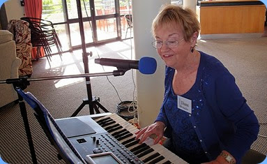 NSOKC's Events Manager, Diane Lyons singing and playing her Korg Pa900. Photo courtesy of Dennis Lyons