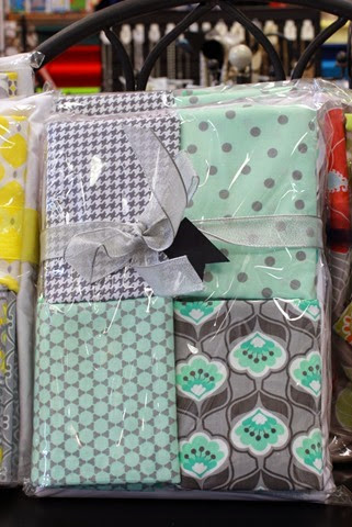 mint and gray quilt kit