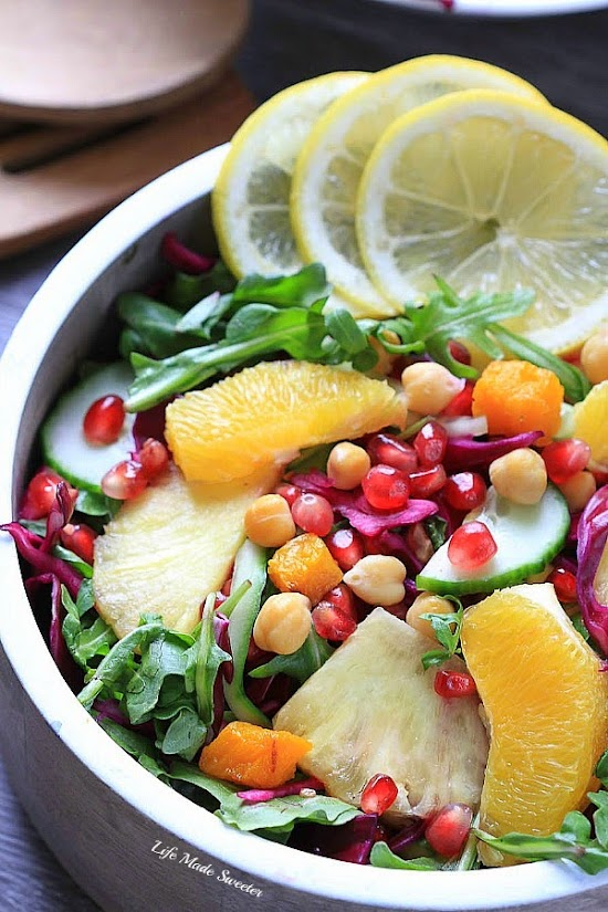 Arugula Salad with Red Cabbage, Pomegranate, Orange and Pineapples by @LifeMadeSweeter.jpg