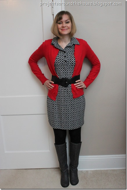 graphic dress, red cardigan